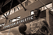 Shot of ground and shot of Sam Bartram statue during the Sky Bet Championship match between Charlton Athletic and Brighton and Hove Albion at The Valley, London, England on 10 January 2015. Photo by Matthew Redman.
