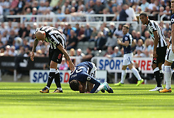 13 August 2017  : Premier League Football : Newcastle United v Tottenham Hotspur:  Jonjo Shelvey appears to apologise after standing on Dele Alli of Tottenham, for which he received a red card:<br /> Photo: Mark Leech