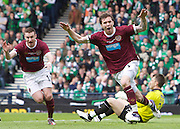 The William Hill Scottish FA Cup Final 2012 Hibernian Football Club v Heart Of Midlothian Football Club..19-05-12...Darren Barr celebrates scoring the opening goal during the William Hill Scottish FA Cup Final 2012 between (SPL) Scottish Premier League clubs Hibernian FC and Heart Of Midlothian FC. It's the first all Edinburgh Final since 1986 which Hearts won 3-1. Hearts bid to win the trophy since their last victory in 2006, and Hibs aim to win the Scottish Cup for the first time since 1902....At The Scottish National Stadium, Hampden Park, Glasgow...Picture Mark Davison/ ProLens PhotoAgency/ PLPA.Saturday 19th May 2012.