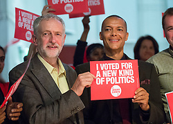 © Licensed to London News Pictures. 10/09/2015. London, UK. JEREMY CORBYN (L) and CIVE LEWIS (R) at a Labour Party leadership rally in Islington, north London. Reports have suggested that Clive Lewis might be promoted to the shadow cabinet in the weeks expected reshuffle. Photo credit: Ben Cawthra/LNP