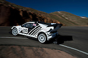 June 26-30 - Pikes Peak Colorado. Mark Rennison runs his car during practice for the 91st running of the Pikes Peak Hill Climb.