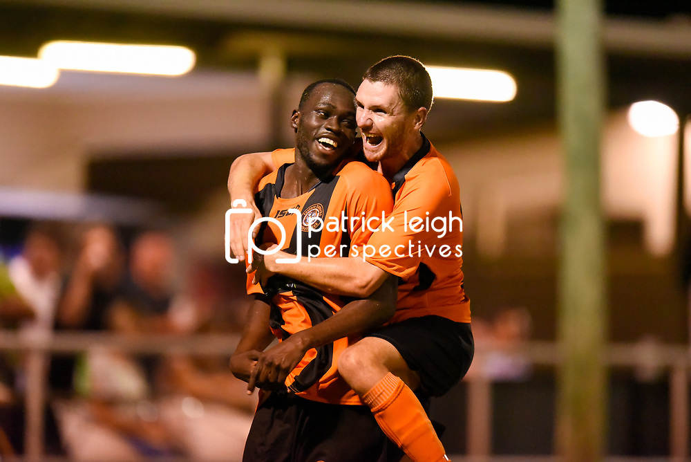 BRISBANE, AUSTRALIA - MARCH 17: Youeil Shol of Easts celebrates scoring a goal with Scott Fulton of Easts during the FQPL Senior Men's Round 7 match between Eastern Suburbs and Rochedale Rovers on March 17, 2018 in Brisbane, Australia. (Photo by Eastern Suburbs / Patrick Kearney)