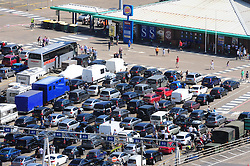 © Licensed to London News Pictures. 24/07/2016<br /> INSIDE THE PORT GOING TO THE SHOPS<br /> The Dover traffic hell continues today (24.07.2016) in Kent.<br /> Long queues at the Port of Dover this afternoon<br />  because of very long delays at French border control. <br /> (Byline:Grant Falvey/LNP)