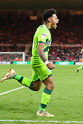 Norwich City midfielder Onel Hernandez (25) celebrates after scoring his team's first goal during the EFL Sky Bet Championship match between Middlesbrough and Norwich City at the Riverside Stadium, Middlesbrough, England on 30 March 2019.