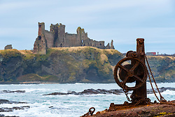 View of Tantallon Castle from harbour at Seacliff in East Lothian, Scotland, United Kingdom