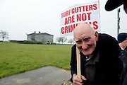06/03/2013. Laurence Shiel from Woodford protesting near the court house in Loughrea where turf cutters where up on charges in relation to the cutting of turf in an area of conservation. Picture:Andrew Downes.