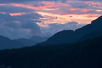 Pink and grey sky above Sproat Lake Vancouver Island BC