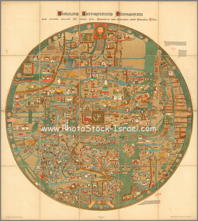 """Word Map Monialium Ebstorfensium mappa mundi Published in 1898 based on 13th century map by Gervase of Ebstorf Circular colorful pictorial map of the world, 101 diameter, on sheet 118x106, dissected into 20 sections 29x21, mounted on linen. The map, printed in Stuttgart, is a reproduction of the famous Ebstorf map which was destroyed in 1943. This large, circular """"mappa mundi,"""" by Gervase of Ebstorf is one of the most famous 13th Century historic maps of the world. With common medieval manuscript symbols and the medieval forms of place names, it reflects the contemporary religious ideas of the medieval map maker and represents cosmography and not cartography, which teaches the constitution of the whole order of nature, or the figure, disposition, and relation of all its parts. It visually portrays the Greek concept of the earth as flat, circular, popularized by the addition of Christian dogma. The original map, discovered in the Benedictine convent of Ebstorf, Germany, in 1830, dates from around the thirteenth century. Various dates have been given by authorities ranging from 1270 to 1350. Map showing the world is centered on Jerusalem, depicted with gold, eight-sided medieval wall, and the Tower of Babel, Bethlehem, Sodom and Gomorrah, and Mt. Sinai. Christ's head represented in the East, at the top of the map, the direction of Paradise. His hands mark the northern and southern limits of the known world, and his feet are at Gibraltar where the Mediterranean meets the Atlantic. Europe is in the bottom left, Africa in the bottom right, and Asia at the upper half. In the East, near Christ's head is located the Garden of Eden surrounded by mountains, the two figures bent to gather silk. Alexander the Great is consulting the Oracle of the Sun and the Moon. The map surrounded by water, depicts significant landmarks highlighted by gold, towns are shown by towers, wildlife, rivers, mountains shown pictorially and points of interest for the curious pilgrim. Also shown a"""
