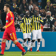 Fenerbahce's Mamadou NIANG (R) celebrate his goal with team mate during their Turkish superleague soccer match Fenerbahce between Kayserispor at the Sukru Saracaoglu stadium in Istanbul Turkey on Monday 14 February 2011. Photo by TURKPIX