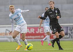 Lucas Haren (FC Helsingør) og Mike Vestergård (Kolding IF) under kampen i 1. Division mellem FC Helsingør og Kolding IF den 24. oktober 2020 på Helsingør Stadion (Foto: Claus Birch).