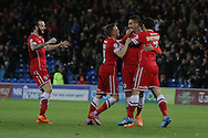 Federico Macheda of Cardiff (second right) celebrates scoring his side's second goal.<br /> <br /> Skybet Football League Championship match, Cardiff City v Ipswich Town at the Cardiff city stadium in Cardiff, South Wales on Tuesday 21st October 2014<br /> pic by Mark Hawkins, Andrew Orchard sports photography.