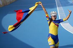 BUENOS AIRES, Oct. 9, 2018  Gabriela Isabel Rueda Rueda of Colombia celebrates victory after the women's combined 500m sprint final of the roller speed skating event at the 2018 Summer Youth Olympic Games in Buenos Aires, Argentina, on Oct. 8, 2018. (Credit Image: © Li Ming/Xinhua via ZUMA Wire)