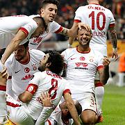 Galatasaray's players celebrate victory during their Turkish Super League soccer match Galatasaray between Mersin idman Yurdu at the AliSamiYen Spor Kompleksi TT Arena at Seyrantepe in Istanbul Turkey on Saturday, 20 December 2014. Photo by Aykut AKICI/TURKPIX