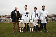 5th April 2014<br /> Bishop Burton College Stockmanship Day 2014.<br /> Names left to right: Andrew Vernon (judge), Alfe Malinder (winner), Josh Palmer (2rd) and Nathan Carr (3rd)