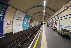 © Licensed to London News Pictures. 04/03/2020. London, UK. An empty Camden Town underground platform at 2pm as number of people are either working from home or not travelling on the underground system due to Coronavirus outbreak. Thirty four new cases of Coronavirus have been confirmed in the UK, taking the total number to eighty five. Photo credit: Dinendra Haria/LNP