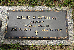 31 August 2017:   Veterans graves in Park Hill Cemetery in eastern McLean County.<br /> <br /> Willie H Woellms US Navy World War II  Jan 31 1914  Dec 15 1987