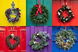 Edinburgh, Scotland, UK. 6 December 2020. A great variety of traditional Christmas wreaths adorning front doors of Georgian townhouses in Edinburgh's New Town.  Iain Masterton/Alamy Live News