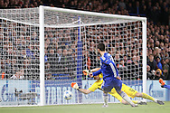 Eden Hazard of Chelsea shoots and hits the post. UEFA Champions league group G match, Chelsea v Porto at Stamford Bridge in London on Wednesday 9th December 2015.<br /> pic by John Patrick Fletcher, Andrew Orchard sports photography.