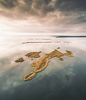 Aerial view of a wild remote archipelago in the middle of baltic sea, Estonia.