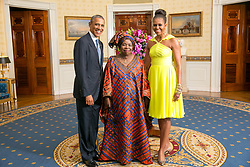 Aug. 5, 2014 - Washington, DC, United States of America - US President Barack Obama and First Lady Michelle Obama pose with Dr. Nkosazana Clarice Dlamini Zuma, Chairperson of the African Union Commission, in the Blue Room of the White House before the U.S.-Africa Leaders Summit dinner August 5, 2014 in Washington, DC. (Credit Image: © Amanda Lucidon/Planet Pix via ZUMA Wire)