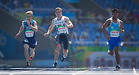 20160912 Copyright onEdition 2016©<br /> Free for editorial use image, please credit: onEdition<br /> <br /> Track Athlete, Jordan Howe, 200m T35 - Men, from Cardiff, competing for ParalympicsGB at the Rio Paralympic Games 2016.<br />  <br /> ParalympicsGB is the name for the Great Britain and Northern Ireland Paralympic Team that competes at the summer and winter Paralympic Games. The Team is selected and managed by the British Paralympic Association, in conjunction with the national governing bodies, and is made up of the best sportsmen and women who compete in the 22 summer and 4 winter sports on the Paralympic Programme.<br /> <br /> For additional Images please visit: http://www.w-w-i.com/paralympicsgb_2016/<br /> <br /> For more information please contact the press office via press@paralympics.org.uk or on +44 (0) 7717 587 055<br /> <br /> If you require a higher resolution image or you have any other onEdition photographic enquiries, please contact onEdition on 0845 900 2 900 or email info@onEdition.com<br /> This image is copyright onEdition 2016©.<br /> <br /> This image has been supplied by onEdition and must be credited onEdition. The author is asserting his full Moral rights in relation to the publication of this image. Rights for onward transmission of any image or file is not granted or implied. Changing or deleting Copyright information is illegal as specified in the Copyright, Design and Patents Act 1988. If you are in any way unsure of your right to publish this image please contact onEdition on 0845 900 2 900 or email info@onEdition.com