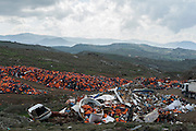 February 27, 2016 - Lesbos, Greece - <br /> <br /> A pile of lifejackets left behind by refugees and migrants who arrived to the Greek island of Lesbos after crossing the Aegean sea from Turkey on February 27, 2016.<br /> ©Exclusivepix Media