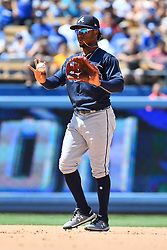 June 10, 2018 - Los Angeles, CA, U.S. - LOS ANGELES, CA - JUNE 10: Atlanta Braves second baseman Ozzie Albies (1) calls time during a MLB game between the Atlanta Braves and the Los Angeles Dodgers on June 10, 2018 at Dodger Stadium in Los Angeles, CA. (Photo by Brian Rothmuller/Icon Sportswire) (Credit Image: © Brian Rothmuller/Icon SMI via ZUMA Press)