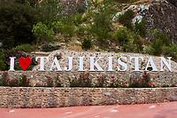 Tadjikistan, Douchanbé, I love Tajikistan dans la cour d'un restaurant  // Tajikistan Douchanbe, I love Tajikistan in restaurant park