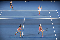 MELBOUREN, Jan. 24, 2019  Zhang Shuai (L bottom) of China and Samantha Stosur (R bottom) of Australia compete during the women's doubles semifinal match against Barbora Strycova and Marketa Vondrousova of the Czech Republic at 2019 Australian Open in Melbourne, Australia, Jan. 23, 2019. Zhang Shuai and Samantha Stosur won 2-1. (Credit Image: © Lui Siu Wai/Xinhua via ZUMA Wire)