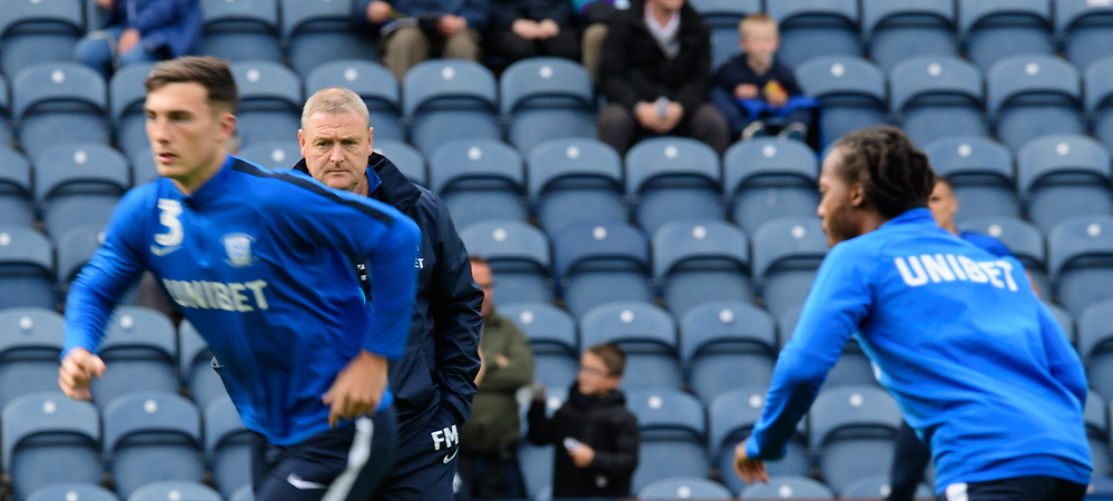Preston North End's first team coach Frankie McAvoy during the pre-match warm-up<br /> <br /> Photographer Chris Vaughan/CameraSport<br /> <br /> The EFL Sky Bet Championship - Preston North End v Reading - Saturday 15th September 2018 - Deepdale - Preston<br /> <br /> World Copyright © 2018 CameraSport. All rights reserved. 43 Linden Ave. Countesthorpe. Leicester. England. LE8 5PG - Tel: +44 (0) 116 277 4147 - admin@camerasport.com - www.camerasport.com