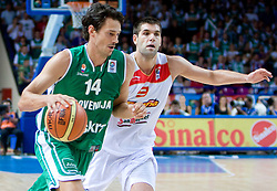 Jurica Golemac (14) of Slovenia and Felipe Reyes during the basketball match at Preliminary Round of Eurobasket 2009 in Group C between Slovenia and Spain, on September 09, 2009 in Arena Torwar, Warsaw, Poland.  (Photo by Vid Ponikvar / Sportida)