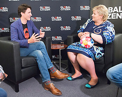 Prime Minister Justin Trudeau and Norway's Prime Minister Erna Solberg chat during their bilateral meeting at the Global Citizen concert at the G20 summit in Hamburg, Germany on Thursday, July 6, 2017. Photo by Ryan Remiorz/CP/ABACAPRESS.COM  | 599136_010 Hamburg Allemagne Germany