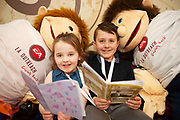 07/04/2019 repro free: Cousins Jeaic O Cualain and  Ciara Nic Dhonncahadh with their books  at Scriobh Leabhair organised by The Galway Education centre and help at the Salthill Hotel  . Photo: Andrew Downes, Xposure