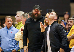 Feb 12, 2020; Morgantown, West Virginia, USA; Pittsburgh Steelers quarterback Ben Roethlisberger and Pittsburgh Steelers wide receiver Ryan Switzer watch the game during the second half at WVU Coliseum. Mandatory Credit: Ben Queen-USA TODAY Sports