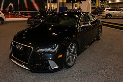 CHARLOTTE, NORTH CAROLINA - NOVEMBER 20, 2014: Audi RS7 sedan on display during the 2014 Charlotte International Auto Show at the Charlotte Convention Center.