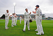 Marcus Trescothick of Somerset leaves the field in his last match and has a guard of honour as he walks off to retire from playing during the Specsavers County Champ Div 1 match between Somerset County Cricket Club and Essex County Cricket Club at the Cooper Associates County Ground, Taunton, United Kingdom on 26 September 2019.