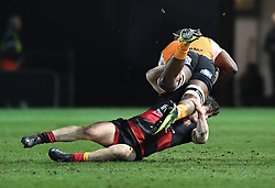 Dragons' Sam Beard make the tackle on Cheetahs' Teboho Mohoje<br /> <br /> Photographer Mike Jones/Replay Images<br /> <br /> Guinness PRO14 Round Round 18 - Dragons v Cheetahs - Friday 23rd March 2018 - Rodney Parade - Newport<br /> <br /> World Copyright © Replay Images . All rights reserved. info@replayimages.co.uk - http://replayimages.co.uk