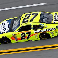 April 16, 2011; Talladega, AL, USA; NASCAR Sprint Cup Series driver Paul Menard (27) during qualifying for the Aarons 499 at Talladega Superspeedway.   Mandatory Credit: Derick E. Hingle