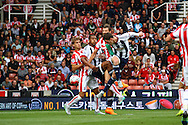 Craig Gardner of West Bromwich Albion gets his head to the ball but fails to score. Barclays Premier League match, Stoke city v West Bromwich Albion at the Britannia stadium in Stoke on Trent, Staffs on Saturday 29th August 2015.<br /> pic by Chris Stading, Andrew Orchard sports photography.