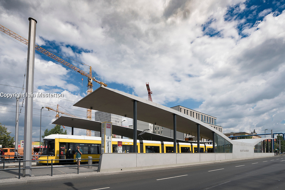 Modern new tram stop shelter at Hauptbahnhof , main railway station in Berlin Germany