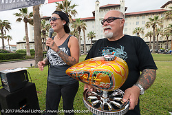Jody and Dave Perewitz at the award ceremony of their Perewitz Pain Show during the Lone Star Rally. Galveston, TX. USA. Friday November 3, 2017. Photography ©2017 Michael Lichter.