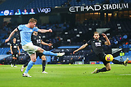 Manchester City midfielder Kevin De Bruyne (17) shoots and hits the post during the Premier League match between Manchester City and Burnley at the Etihad Stadium, Manchester, England on 28 November 2020.