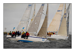 Brewin Dolphin Scottish Series 2010, Tarbert Loch Fyne - Yachting..Day one stated late but resulted in good conditions on Loch Fyne..Class 5 Fleet with GBR9612 ,Bambi ,Peter Doig  ,East Antrim BC ,Impala, Antix and Kudos II...