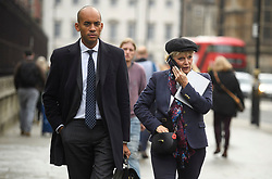 © Licensed to London News Pictures. 15/11/2018. London, UK. Labour MP and Remain campaigner CHUKA UMUNNA and Conservative MP and Remain campaigner ANNA SOUBRY are seen during a radio interview in Westminster the day after Cabinet agreed to back Prime Minister Theresa May's deal on Brexit. Photo credit: Ben Cawthra/LNP