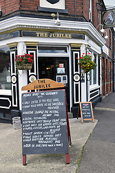 As pubs reopen in July 2020, Coronavirus rules on blackboard outside, Jubilee pub Norwich UK