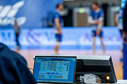 Match statistics in action during the second final league match between Amysoft Lycurgus vs. Draisma Dynamo on April 24, 2021 in Groningen.