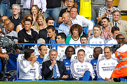 Chelsea's manager Jose Mourinho sits in the dugout  - Photo mandatory by-line: Mitchell Gunn/JMP - Tel: Mobile: 07966 386802 18/08/2013 - SPORT - FOOTBALL - Stamford Bridge - London -  Chelsea v Hull City - Barclays Premier League