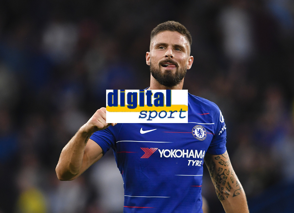 Football - 2018 / 2019 Premier League - Chelsea vs. Arsenal<br /> <br /> Chelsea's Olivier Giroud celebrates at the final whistle after their 3-2 victory, at Stamford Bridge.<br /> <br /> COLORSPORT/ASHLEY WESTERN