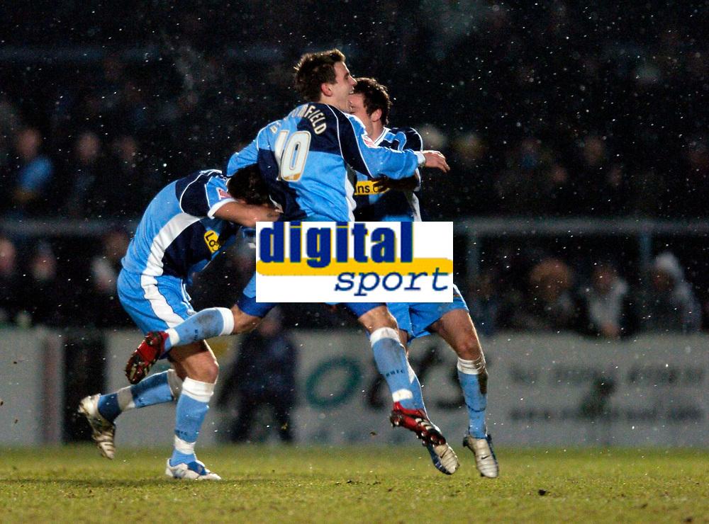 Photo. Richard Lane.<br />Wycombe Wanderers v Leyton Orient. Coca Cola League Two. 29/12/2005.<br />Wycombe's Matt Bloomfield celebrates Stefan Oakes' goal