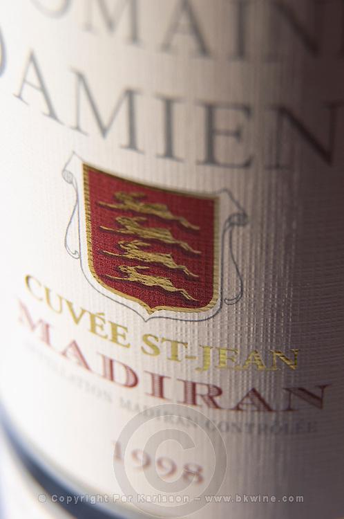 Bottle of Domaine Damiens Cuvee St Jean detail of label Madiran France